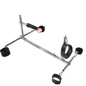 Unisex in acciaio inox Bondage telaio schiavi cane BDSM dispositivi set di manette catene caviglia polsini collo dildo collare mobili sex toy