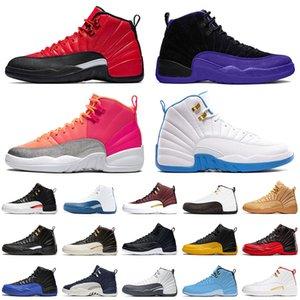 Nike Air Jordan Retro 12 12s Top chaussures de basket-ball pour hommes nouvelle qualité Dark Concord inverse FLU jeu Hot Punch University bleu Jumpman Sport formateurs taille 13