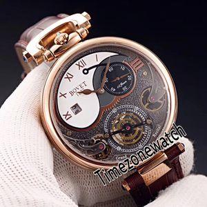 Bovet 1822 Tourbillon Amadeo Fleurie Automatische Skeleton Herren-Uhr Rose Gold weißen Zifferblatt römische Markierungs-Brown-Leder Timezonewatch E08b2