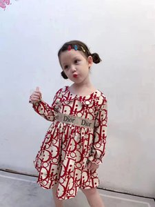 2020 새로운 어린이 여름 소녀 인쇄 빈티지 꽃 드레스 어린이 공주 꽃 드레스 어린이 소매 옷