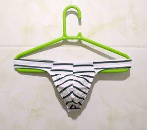 String en coton à rayures pour hommes Sexy U Pantalon de poche convexe avec poches pour bras de rosée