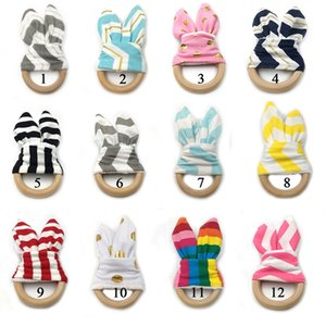 Baby Wooden Teether Safety Wood Circle Teething Ring Rabbit Ear stripe print Newborn Teeth Practice Toys Training Child Chew Teethers M2057
