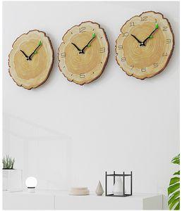 나무 시계 빈티지 나무 벽 시계 거실 침묵 링 쿼츠 시계 북유럽 창조적 인 벽 시계