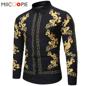 Floral Shirt Men Fashion Casual Luxury Royal Court Long Sleeve Printed Shirts Men Dress Social Business Chemise Homme Streetwear MX200518