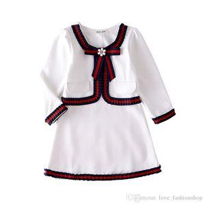 2020Retail 아기 소녀 드레스 리본 활 아이 디자이너 옷 아동 면화 드레스 보우에 대한 기질 공주 드레스를 페르시