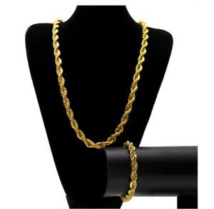 10MM Hip Hop витой веревочки Цепь ювелирных изделия набор Золото Посеребренного Толстая Толстая длинное ожерелье браслет для мужчин S Rock Jewelry GB1191