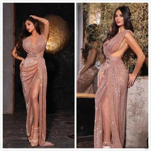 New Desinger 2020 fendus Paillettes Robes de bal sexy gaine robe de soirée rose de soirée Robes Robes réception Custom Made