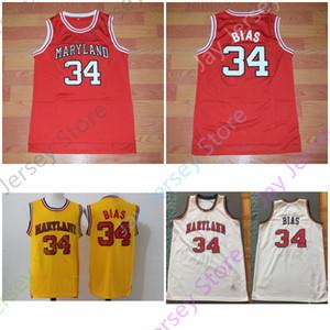 NCAA Maryland Baloncesto Jersey 34 Len Bias Blanco Rojo Amarillo Todo cosido y bordado