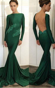 Koyu Yeşil Backless Mermaid Abiye 2020 Vestido Comprido Uzun Kollu Örgün Kadın Balo Abiye Ile Dantel Aplikler
