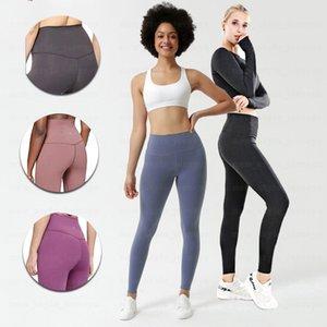 LU-32 pantalones de yoga Mujeres sólido Lu cintura alta Deportes completa Legging El juego libre del envío de la yoga Deportes completa Legging