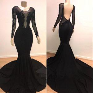 2019 Black Sexy Illusion Corpetti maniche lunghe Sirena Prom Dresses Applique in pizzo Backless abiti da sera formale Corte dei treni