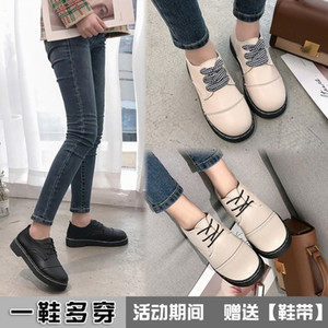 Free2019 Small Season Annual Leather Woman Shoes Level With Flat Bottom Circle Head Student Chalaza Single Shoe