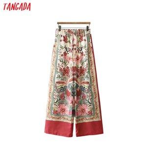Tangada Mulher Verão Floral Imprimir Vermelho Largo Perna Calças Bow Tie Bolso Retro Feminino Streetwear Calças Casuais Mujer Xd290 Y19071601