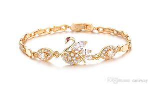 Güzel Swan Tasarım Link Zinciri Kadın Bilezikler Moda Altın Kaplama Renk Taşlı Seli Bilezik Düğün Takı