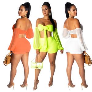 Perspective sexy deux pièces Womens Shorts Sheer Ensembles couleur solides manches longues taille haute Femmes 2PCS Ensembles