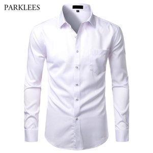 الأبيض الرجال ألياف الخيزران قمصان سليم صالح عادية زر اللباس قمصان الرجال القميص Soical الصلبة مع الجيب الرسمي Camisas الأعمال