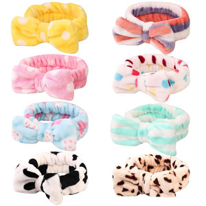 Kız bebekler Mercan polar Bow Bantlar Kadınlar Yıkanma Yıkama yüz Makyaj Peluş hairbands Saç Aksesuarları Turbon 22 Renkler Headdress