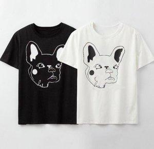 20ss letras impresas Camisetas para hombre de la moda camisetas con el perro de verano Camiseta animal Hombres Mujeres Pareja Tops alta calidad