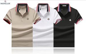 2020 Мужская с коротким рукавом рубашки поло Medusa способа печати Slim Fit Конструктор Polo с белым Вышивка Bee тигр Повседневный Черный Polos рубашка # 024