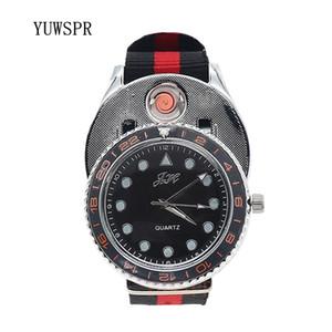 Gli uomini guardano più leggeri di sport orologio USB ricaricabile accendisigari uomini antivento senza fiamma casuale quarzo maschile ZH320 orologio