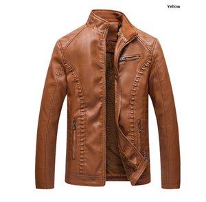 mens deri giyim motosiklet leathe İnce ceket erkek tasarımcı ceketler Artı kadife sıcak deri PU deri ceket