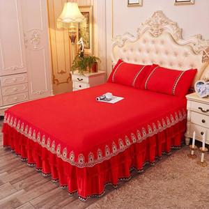 Korean Princess Lace Bed Röcke 100% Cotton Ruffles Betten Twin Queen-King-Size-1 / 3pcs elegante Tagesdecken Bettdecke Kissen-