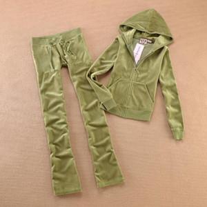 Primavera Queda Mulheres da marca Tecido de veludo Fatos Velour Suit Mulheres Faixa Suit hoodies e calças tamanho XS - XL
