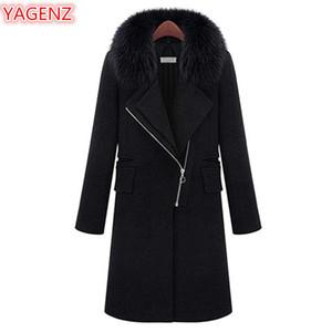 Manteau de laine pour femmes de grande taille YAGENZ hiver vêtements pour femmes 5XL mode longue section femmes manches longues col de fourrure à glissière manteau 403