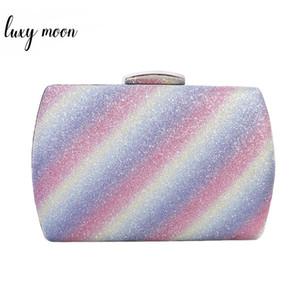 Luxy Moon Wedding Клатчи вечера женщин сцепления сумка Радуга печати Мини сумка Винтажные сумки на ремне для женщин 2019 ZD1438