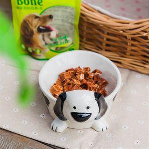 3D cerâmica criativa pintadas à mão Dog Food bacia Anti-perturbar Pet Food bacia Paw Personalidade Print Supplies Dog Bowl Pet
