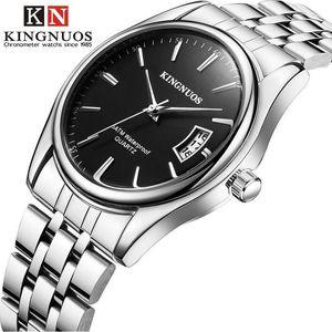 Tira de Aço dos homens da moda Calendário À Prova D 'Água dos homens e das Mulheres Relógios Relógios Casuais Pulseiras das Mulheres Explosão Quente Reloj Muje
