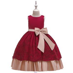 Big children Flower girls dresses evening dress multi layers embrodiery dress bow at waist dress good quality for wedding event  banquet