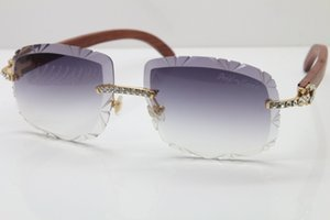 Toptan-2019 Ücretsiz Kargo güneş gözlüğü erkekler Yeni Oyma Lens Gözlük Ahşap gözlük T8200762 Çerçevesiz Küçük Büyük Taşlar Güneş Gözlüğü Çerçeve Unisex
