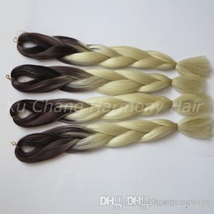 L Kanekalon Jumbo Box Braiding Synthetic Hair 24 Inch 100g Brown &Blonde 613 Ombre Two Tone Xpression Hair Extension