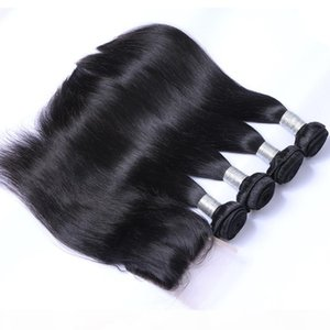 8A Brazilian Virgin Human Hair Weave 4 Bundles with Lace Closure Malaysian Peruvian Indian Cambodian Mongolian Straight Remy Hair Extensions