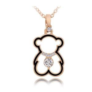 Collier de femmes de marque de marée mignon petit ours pendentif bijoux personnalité Hipster alliage exquis plaqué or 18K chaîne Claviculaire en gros