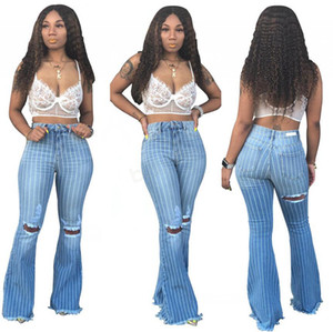 Women Striped Flare Jeans Pants Ripped Hole Slim Sexy Vintage Bootcut Wide Leg Flared Jeans Office Lady Bell Bottoms Denim Pants LJJA3038-1