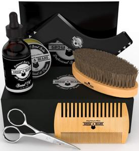 MOQ 100pcs OEM Custom LOGO Amazon Hot Sale Beard Kit for Man Beard Brush,Comb, Beard Oil, Balm Scissors in Gift Box