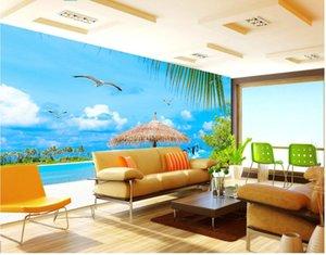 WDBH 3d wallpaper custom photo mural Blue sky beach seagull landscape painting home decor living Room 3d wall murals wallpaper for walls 3 d