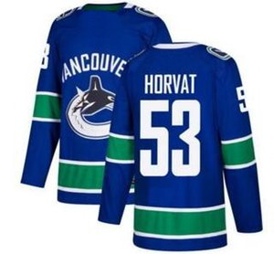 Vancouver Canucks # 53 Horvat Blue Home costurado Jersey, mens 33 Sedin 40 Pettersson personalidades do esporte Trainers Hockey Jersey