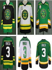 """Özel Ross """"Patron"""" Rhea GOON Film St john Shamrocks Buz Hokeyi Forması erkek Nakış Herhangi Adı Numarası Jersey Yeşil Siyah Beyaz"""