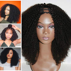 Middle Open 100% Human Hair Afro Kinky Curly 2x4 middle opening U Part Wigs For Black Women 100% Unprocessed Peruvian Curl Wig Remy Hair