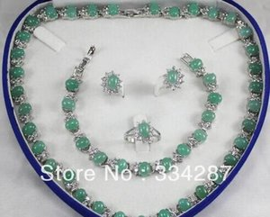 New Listed !Free Shipping 6x8MM Bead Light green Jades Necklace Bracelet Earring Jewelry Set