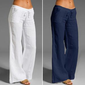Celmia mulheres vintage linho longo palazzo moda calça de perna larga calça casual cintura elástica sólida solta pantalon femme enorme