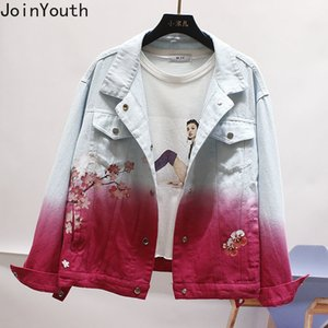 JoinYouth Otoño Outwear Imprimir Sakura Denim Chaquetas Mujeres Single Breasted Streetwear Moda Chaqueta Mujer Chaqueta suelta J064