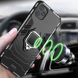 iPhone için 11 Pro Max Kılıf Zırh PC Kapak Metal Halka Tutucu Telefon Kılıfı için Apple iPhone 11 Vaka Pro Kapak Darbeye Tampon Kabuk