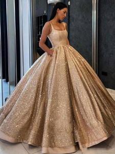 Lüks Blingbling Altın Payetli Balo Akşam Ünlü Elbiseleri Muhteşem Kare Boyun Kat Uzunluk Balo Parti Elbise