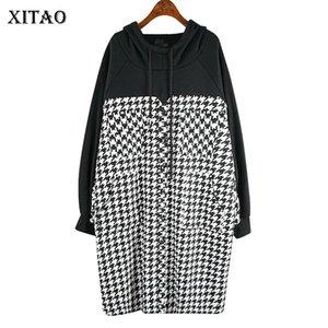 Xitao Patchwork Vintage Ekose Gevşek Elbise Kadınlar 2019 Kış Kapşonlu Yaka Moda Tide Stil Uzun Kollu Doğal Bel ZLL4549