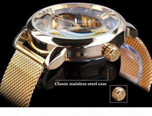 Forsining Transparent Case 2017 Fashion 3D Engraving Golden Stainless Steel Men Mechanical Watch Top Skeleton Shipping