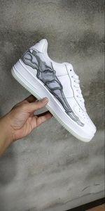Homens Brancos Forças 1 Baixo QS Esqueleto Dia de Todos os Santos Dia de Hallows 'Hallowmas Skate Sapatos Mulheres Sapatilhas Andando Sapatilhas